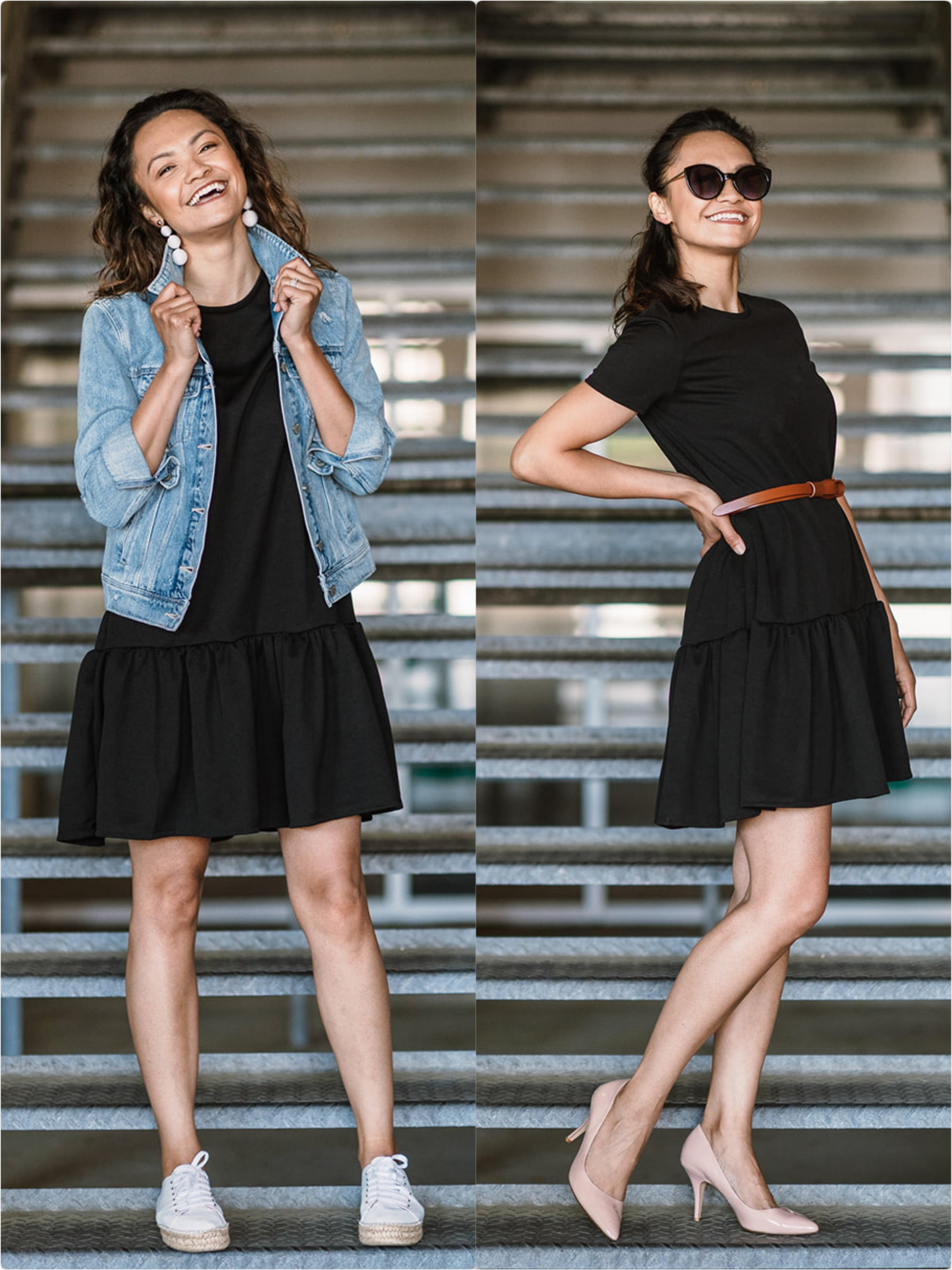 Two Ways To Style A Black Dress. One With A Jean Jacket and One With A Brown Belt and Blush Shoes