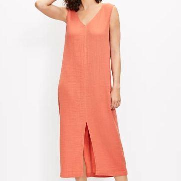 Double V Midi Dress_LOFT