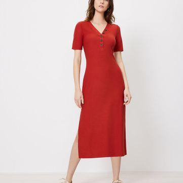 Henley Dress_LOFT_red