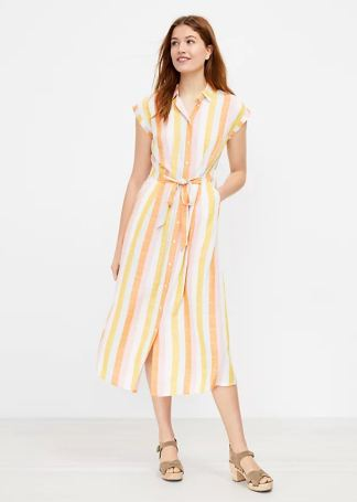 Stripe Belted Dress_LOFT